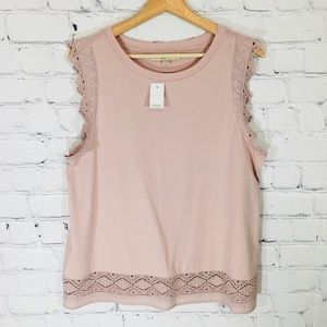 LOFT Crochet Embroidered Edge Top Blouse LARGE NWT